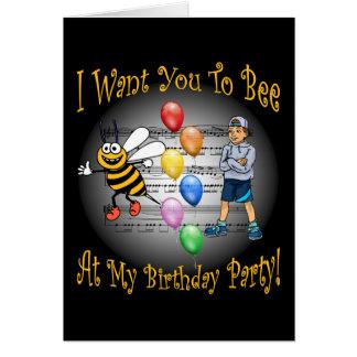 Boys Birthday Party Invitation ~ Bee ~ Balloons