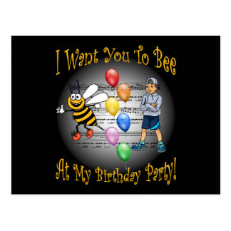 Boys Birthday Party Invitation ~ Bee ~ Balloons Postcard
