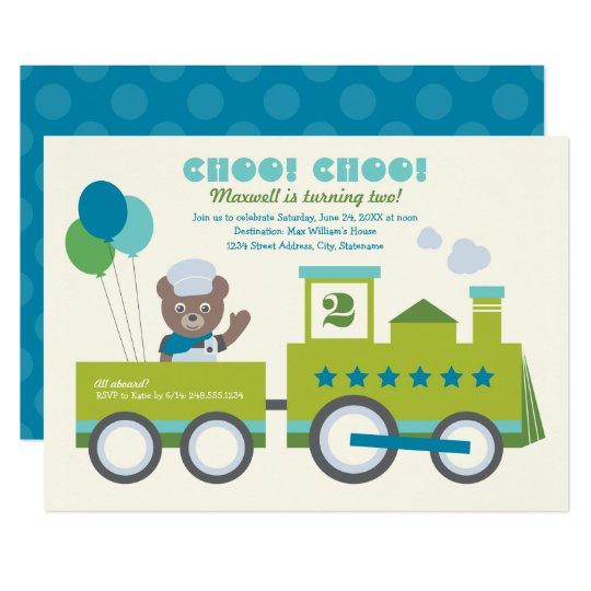 Boy's Birthday Party Invitation   Choo Choo Train