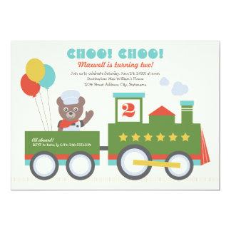 "Boy's Birthday Party Invitation   Vintage Train 5"" X 7"" Invitation Card"