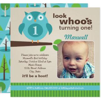 Boy's Birthday Party Photo Invitation | Owl Theme