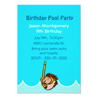 Boys Birthday Pool Party Invitation