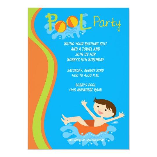 Boys Birthday Pool Party Invitation