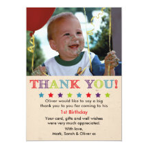 1st birthday thank you cards greeting photo cards zazzle bookmarktalkfo Image collections