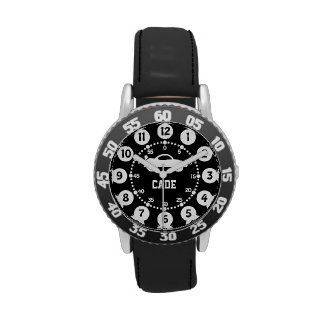 Boys black and white name wrist watch