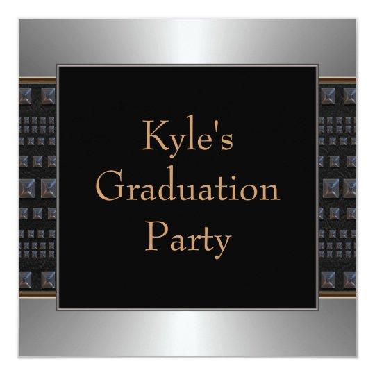 Boys Black Graduation Party Card