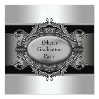Boys Black Graduation Party Invitations