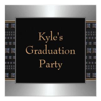 Boys Black Graduation Party Invite
