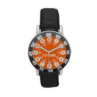 Boys black orange and white name wrist watch