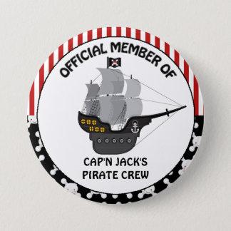 Boys Black Pirate Ship Pinback Button