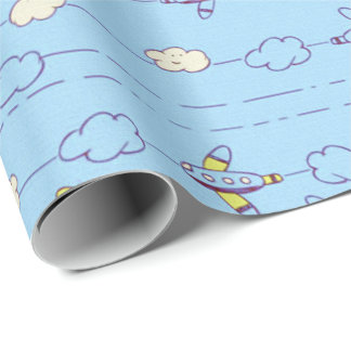Boys blue airplanes wrapping paper