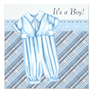 Boys Blue and Gray Baby Shower Card
