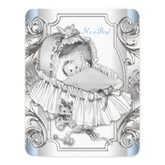 Boys Blue and Silver Baby Shower Card