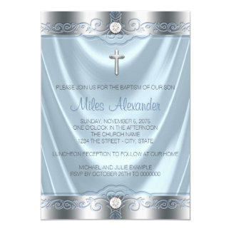 Boys Blue and Silver Baptism Card