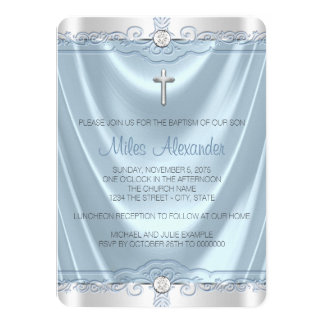 Boys Blue and Silver Baptism Christening Card