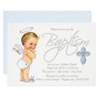 Boys Blue Angel Baptism Card