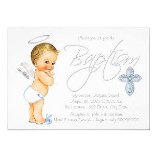 Boys Blue Angel Baptism Invitation