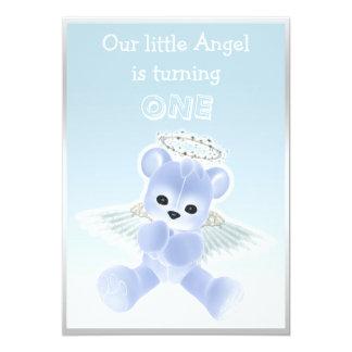 Boy's Blue Angel Teddy Bear First Birthday Party Card