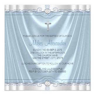 Boys Blue Baptism Christening Blue Satin Card