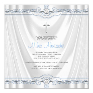 Boys Blue Baptism Christening White Satin Card