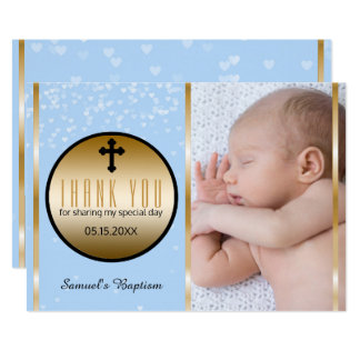 Boys Blue Baptism Thank You | Custom Photo Hearts Card