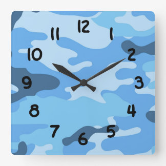 Boys Blue camo camouflage wall clock