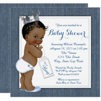 Boys Blue Denim African American Baby Shower Card