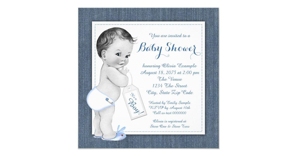 Boys Blue Denim Baby Shower Invitation Zazzle Com