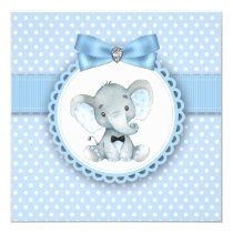 Boys Blue Elephant Baby Shower Invitations