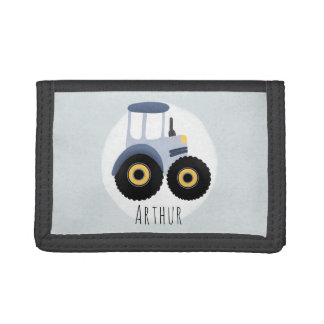 Boy's Blue Farm Tractor with Name Kids Trifold Wallet
