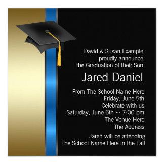Boys Blue Gold Graduation Announcements
