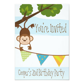 Boys Blue Monkey Birthday Party Invitation