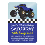 Boys Blue Monster Truck Personalized Birthday 5x7 Paper Invitation Card
