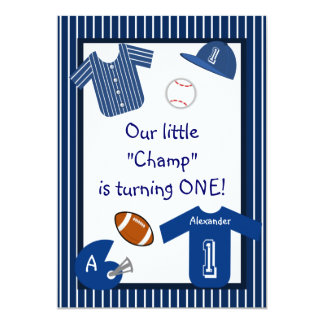 Boys Blue Pinstripes Sports First Birthday Party Personalized Invite