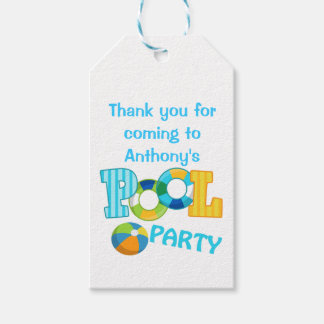 Boys Blue Pool Party Personalized Gift Tags