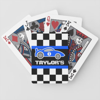 Boys blue sports car name age playing cards