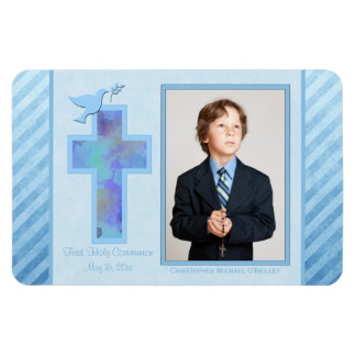 Boys Blue Striped 1st Holy Communion Photo Magnet