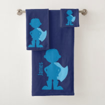 Boys Blue Superhero Silhouette Personalized Kids Bath Towel Set