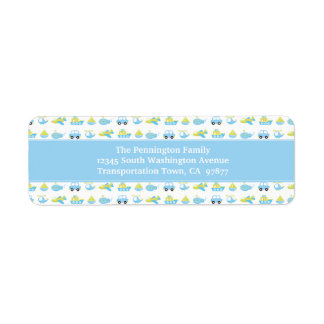 Boys blue travel time personalized address label