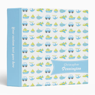 Boys blue travel time personalized avery binder