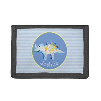 Boys Blue Watercolor Dinosaur and Name Kids Trifold Wallet