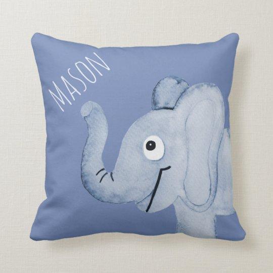 Gray Blue Elephant Baby Announcement Pillow Zazzle Com