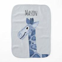 Boy's Blue Watercolor Giraffe Safari Pattern Name Baby Burp Cloth
