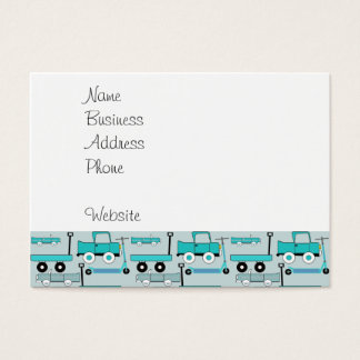 Boys Blue Wheels Retro Scooters Cars Wagons Trucks Business Card