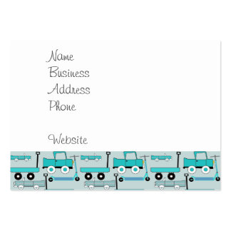 Boys Blue Wheels Retro Scooters Cars Wagons Trucks Business Card Template