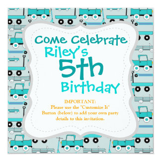 "Boys Blue Wheels Retro Scooters Cars Wagons Trucks 5.25"" Square Invitation Card"