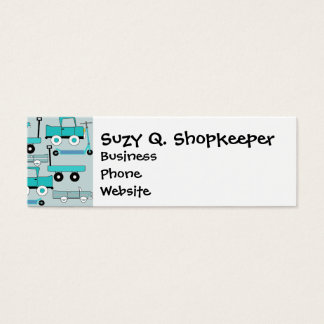 Boys Blue Wheels Retro Scooters Cars Wagons Trucks Mini Business Card