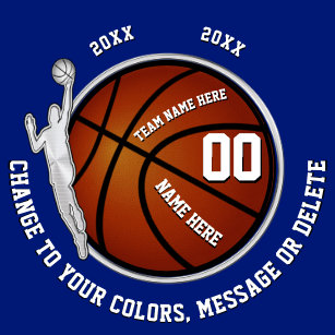 Boys Blue White Basketball Senior Night Gift Ideas Keychain