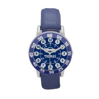 Boys blue, white name wrist watch