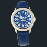 """Boys blue white name wrist watch<br><div class=""""desc"""">Graphic art kids watch featuring a simple white car. Great for school age boys learning to read a clock as features both minutes and hours. Customise with your name example reads Thomas. Great for school and sports as features your boys name.</div>"""